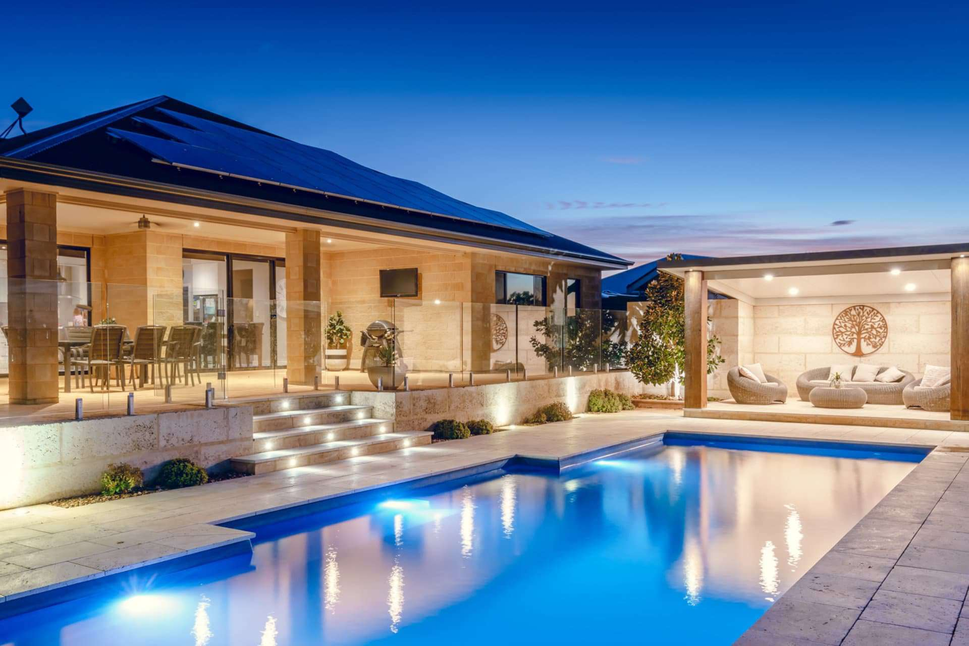 outdoor pool and entertaining area